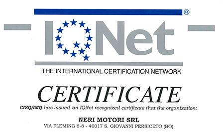 Neri Motori has obtained ISO 9001:2015 certification